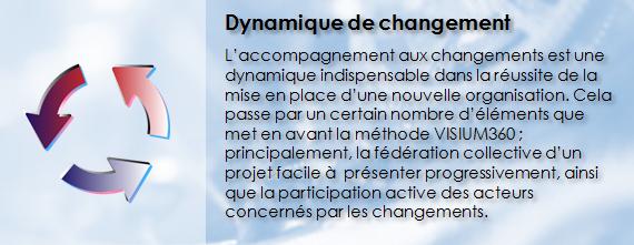 VISIUM360, Dynamique de changement, Accompagnement aux changements, Fédération collective, Démarche participative